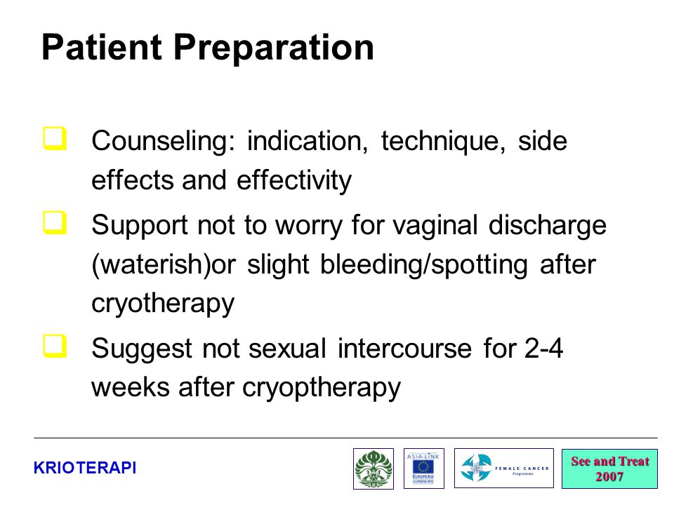 Patient Preparation Counseling: indication, technique, side effects and effectivity.