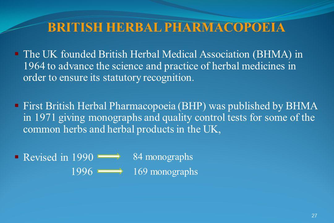 BRITISH HERBAL PHARMACOPOEIA