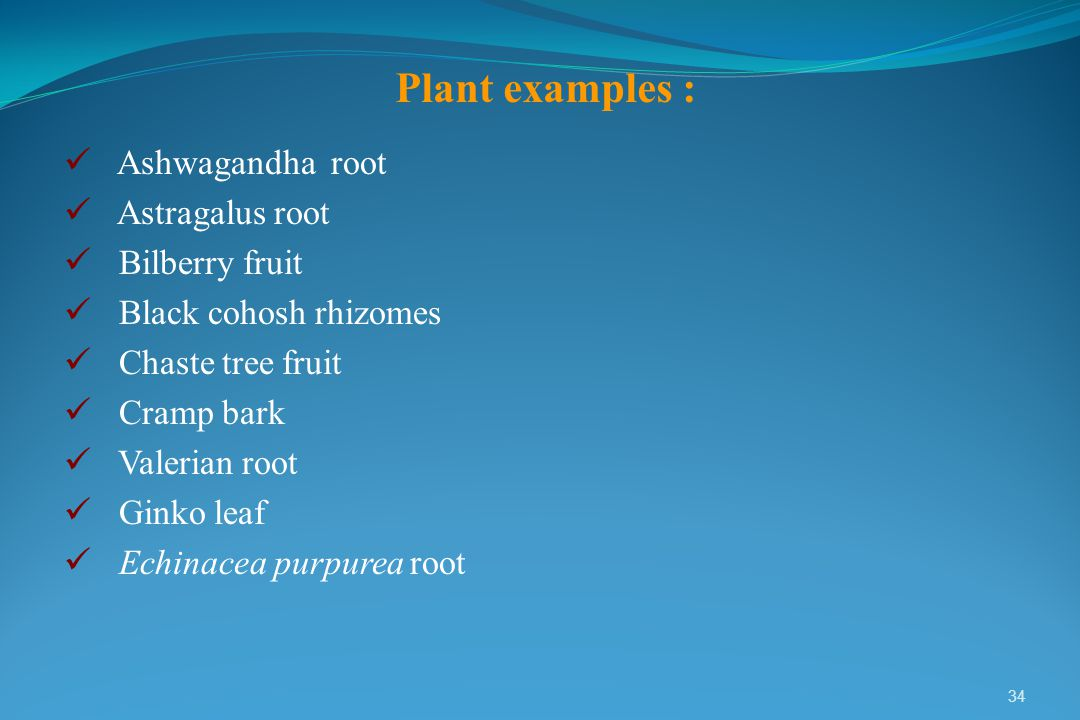 Plant examples : Ashwagandha root Astragalus root Bilberry fruit
