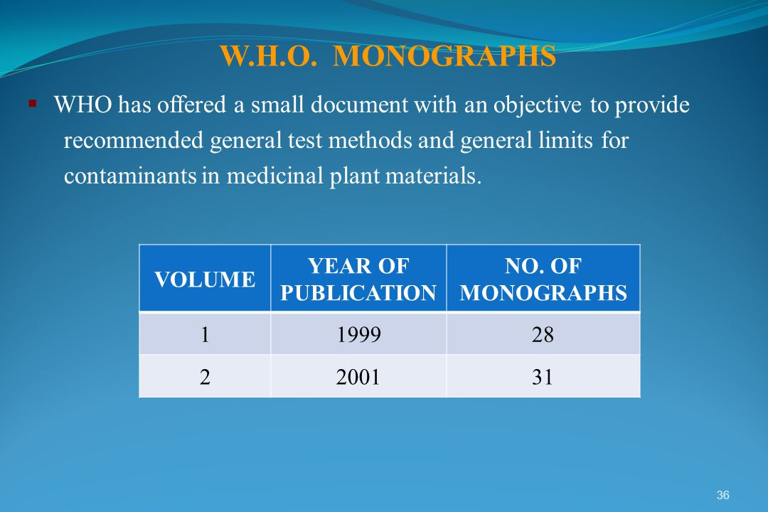 W.H.O. MONOGRAPHS WHO has offered a small document with an objective to provide. recommended general test methods and general limits for.