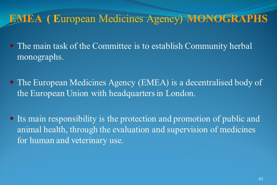 EMEA ( European Medicines Agency) MONOGRAPHS