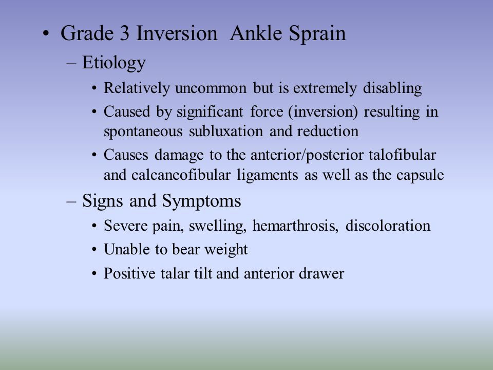 Grade 3 Inversion Ankle Sprain