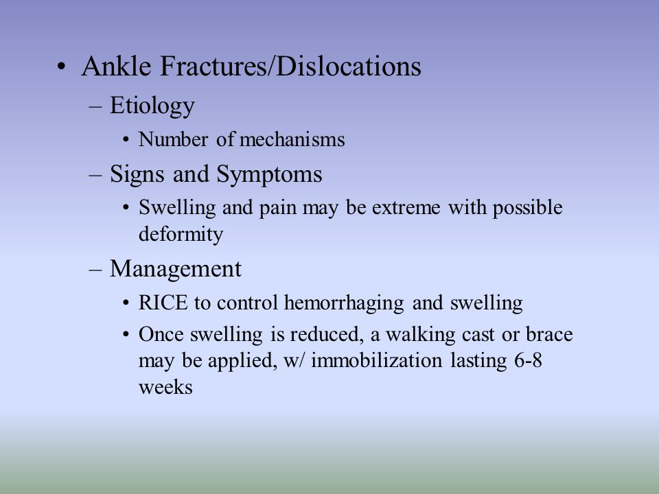 Ankle Fractures/Dislocations