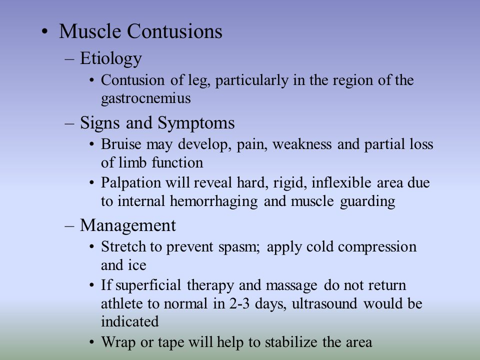 Muscle Contusions Etiology Signs and Symptoms Management