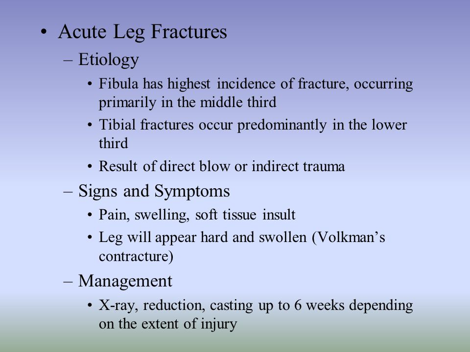 Acute Leg Fractures Etiology Signs and Symptoms Management