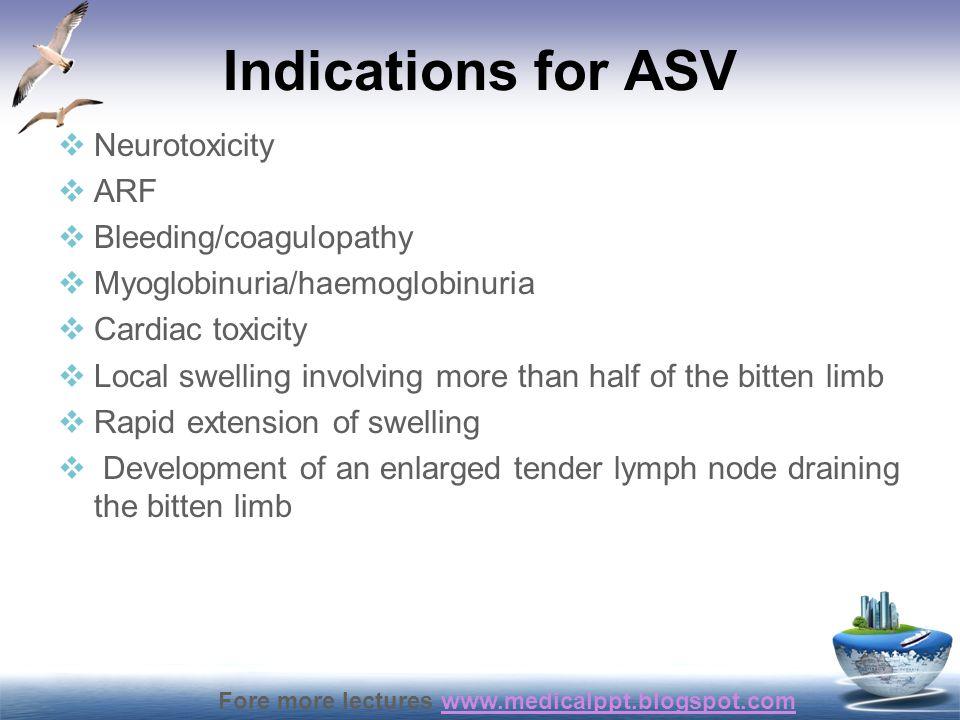 Indications for ASV Neurotoxicity ARF Bleeding/coagulopathy
