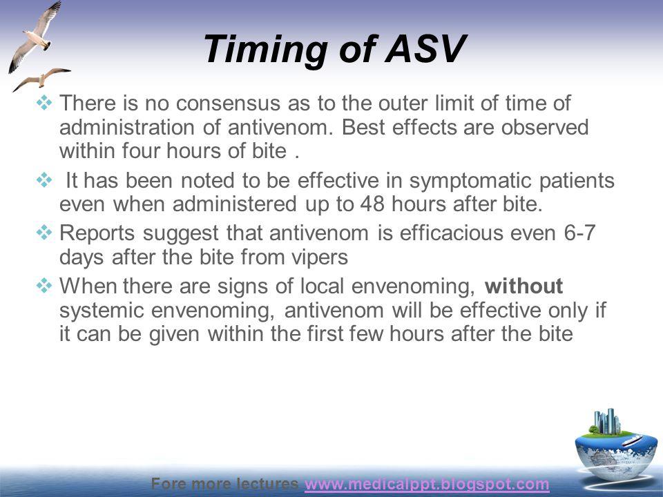 Timing of ASV