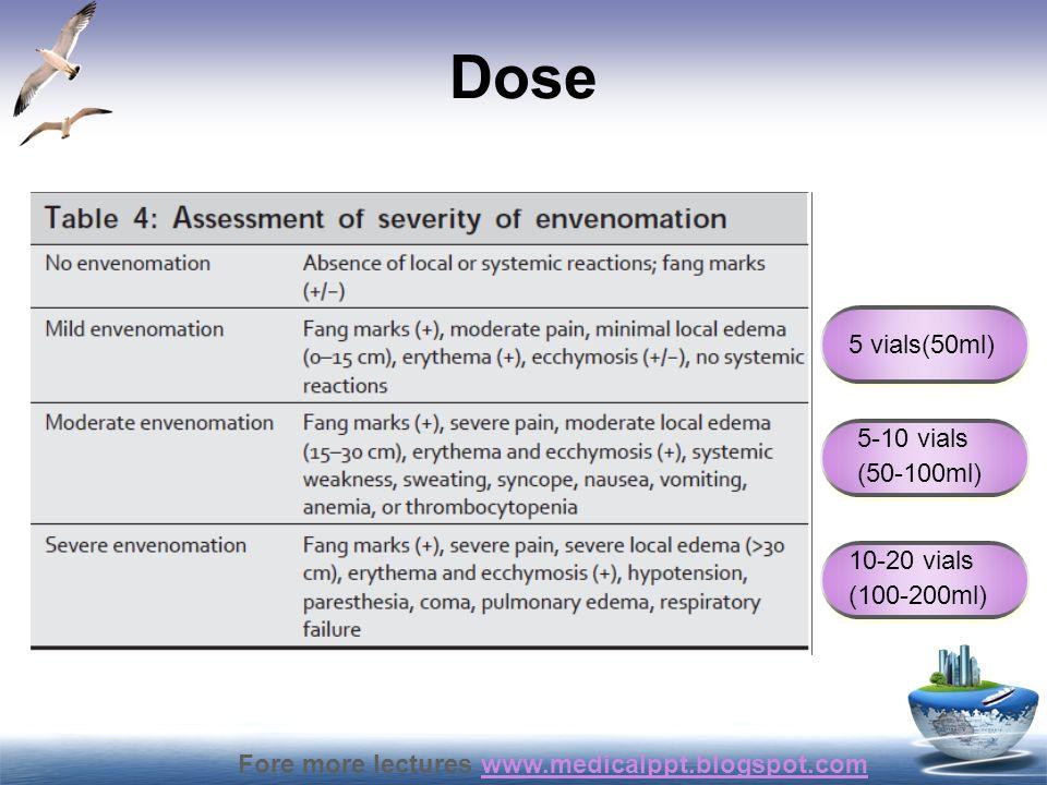 Dose 5 vials(50ml) 5-10 vials (50-100ml) 10-20 vials (100-200ml)