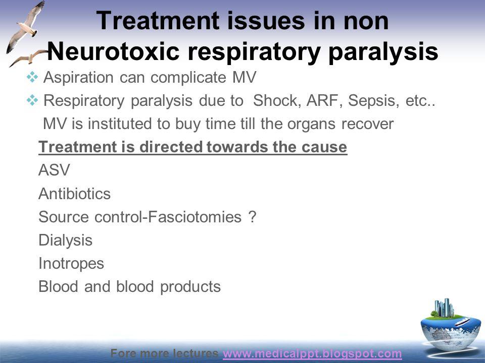 Treatment issues in non Neurotoxic respiratory paralysis