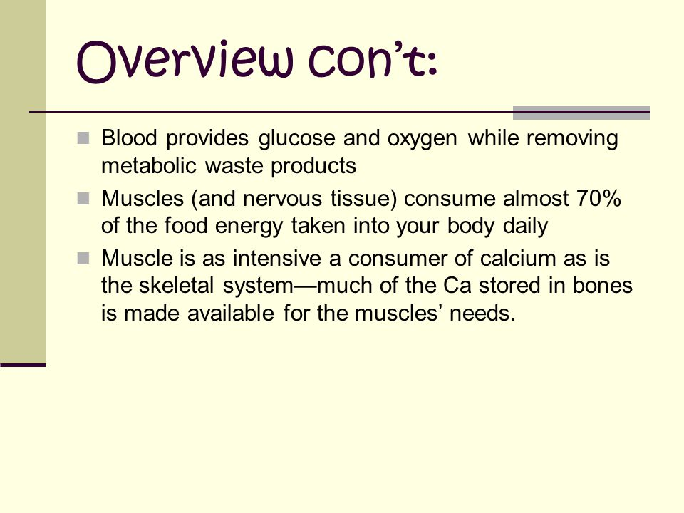 Overview con't: Blood provides glucose and oxygen while removing metabolic waste products.