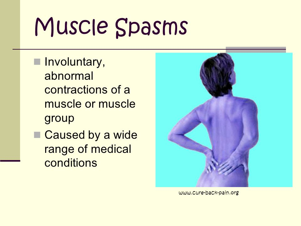 Muscle Spasms Involuntary, abnormal contractions of a muscle or muscle group. Caused by a wide range of medical conditions.