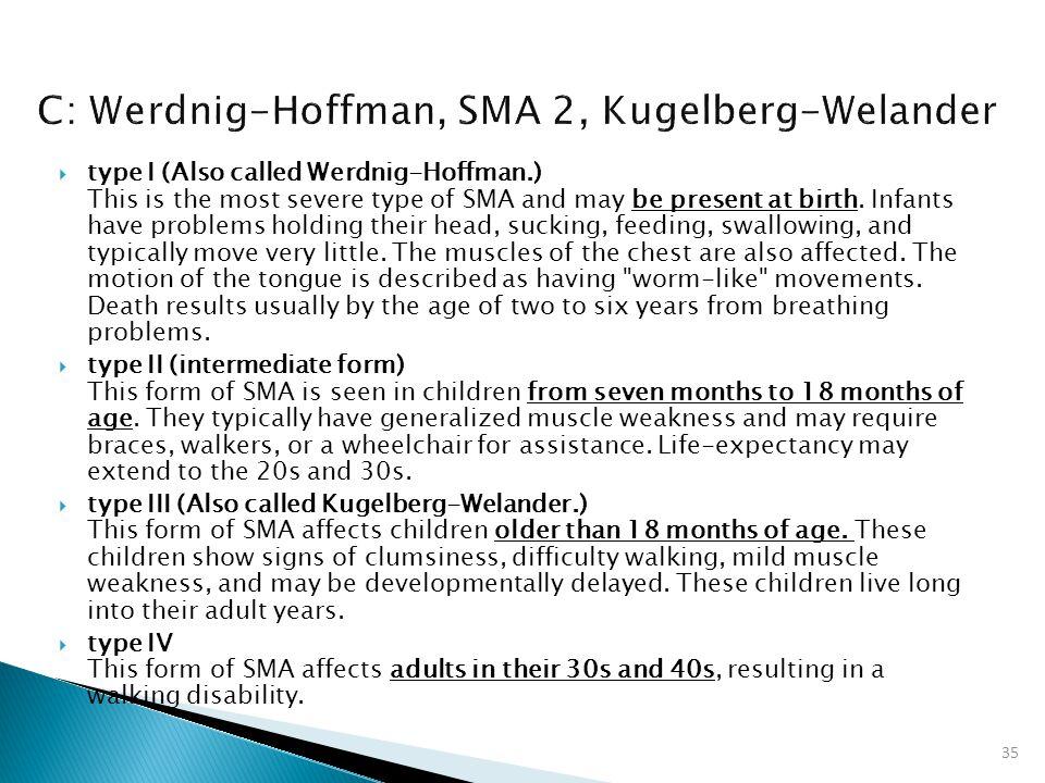 C: Werdnig-Hoffman, SMA 2, Kugelberg-Welander