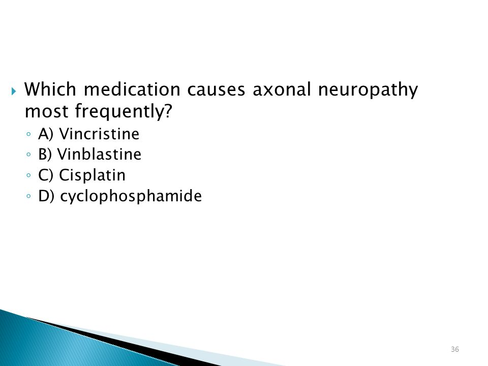 Which medication causes axonal neuropathy most frequently