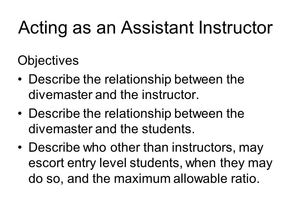 Acting as an Assistant Instructor