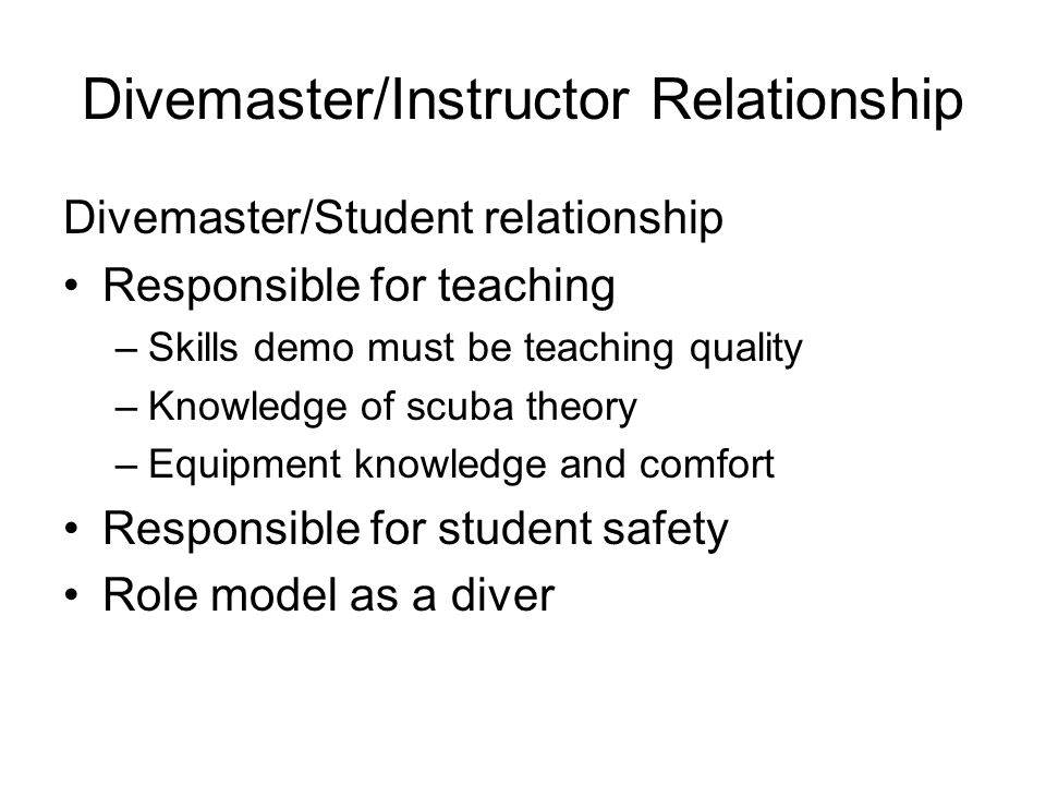 Divemaster/Instructor Relationship