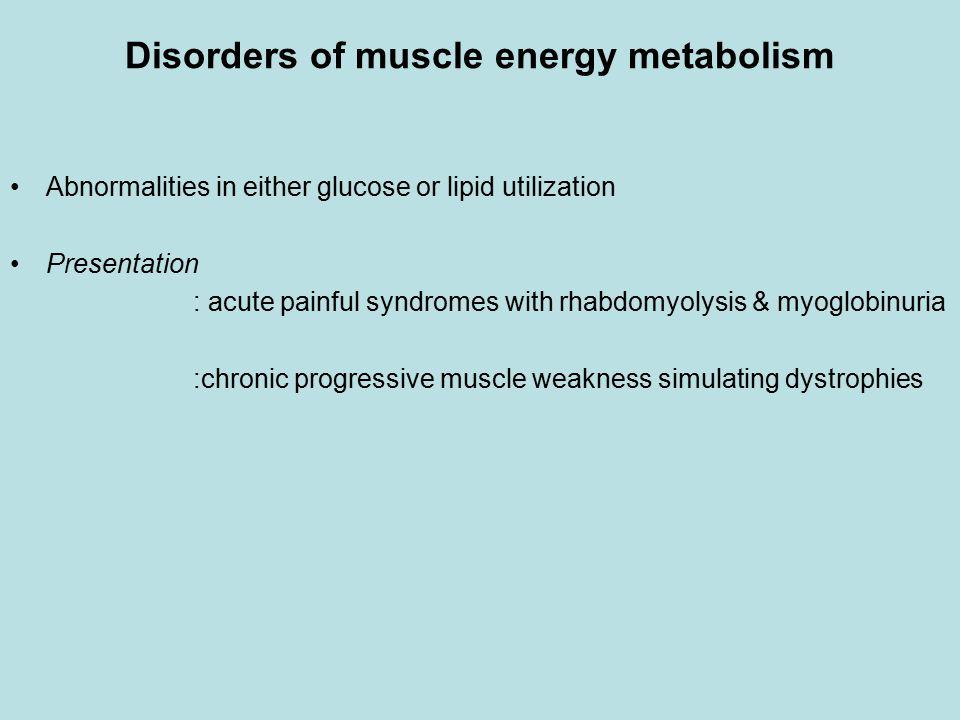 Disorders of muscle energy metabolism