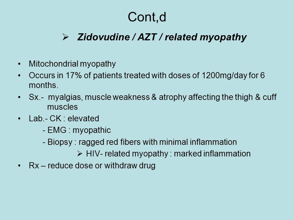 Cont,d Zidovudine / AZT / related myopathy Mitochondrial myopathy