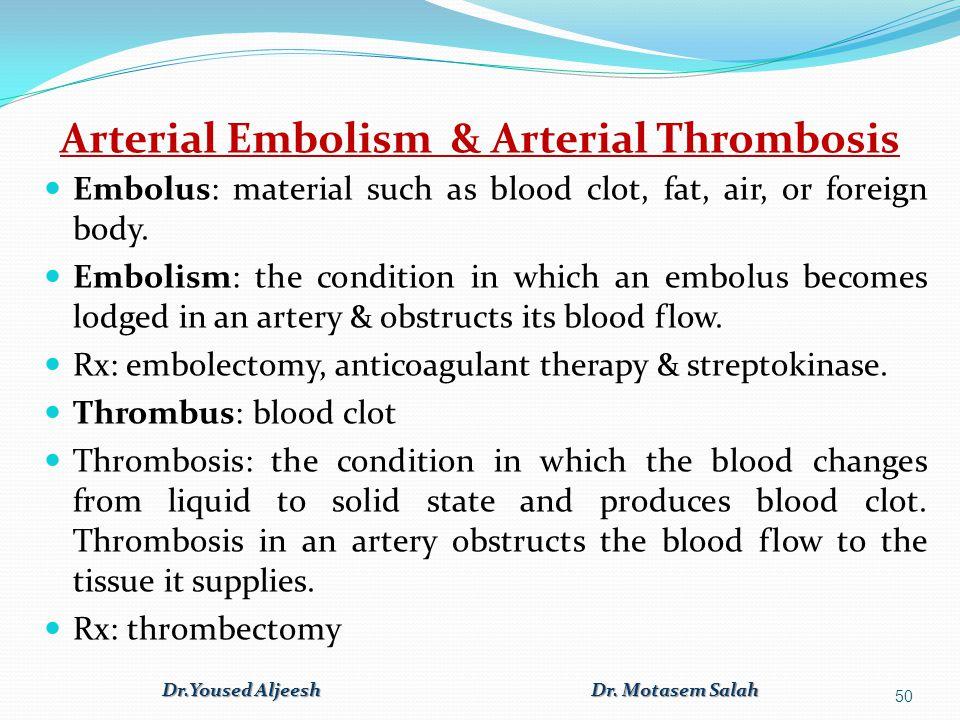 Arterial Embolism & Arterial Thrombosis