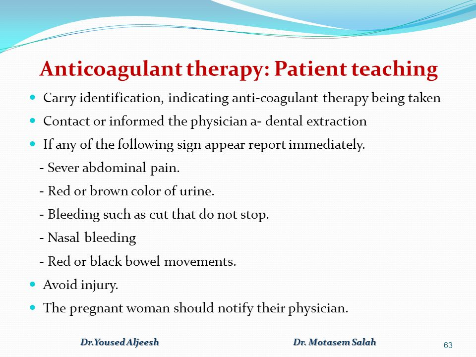 Anticoagulant therapy: Patient teaching