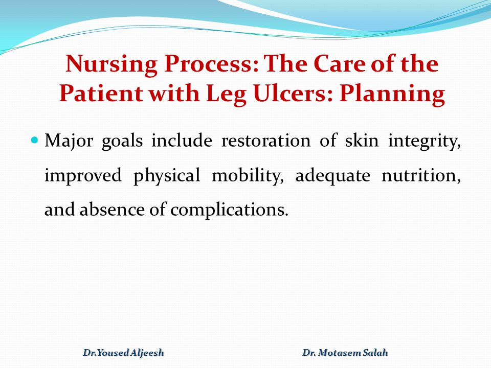 Nursing Process: The Care of the Patient with Leg Ulcers: Planning