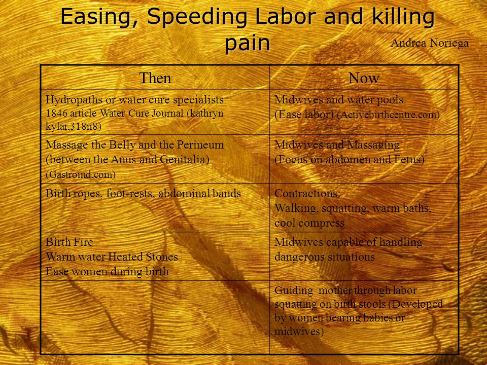 Easing, Speeding Labor and killing pain