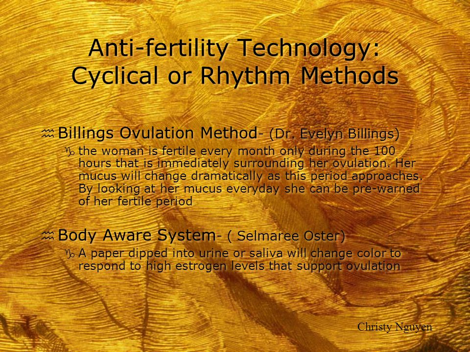 Anti-fertility Technology: Cyclical or Rhythm Methods
