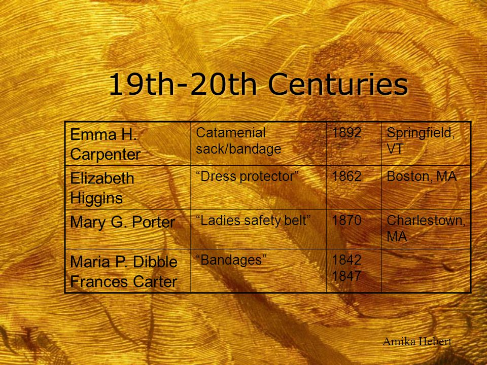 19th-20th Centuries Emma H. Carpenter Elizabeth Higgins Mary G. Porter