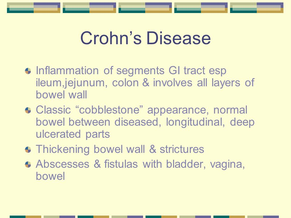 Crohn's Disease Inflammation of segments GI tract esp ileum,jejunum, colon & involves all layers of bowel wall.