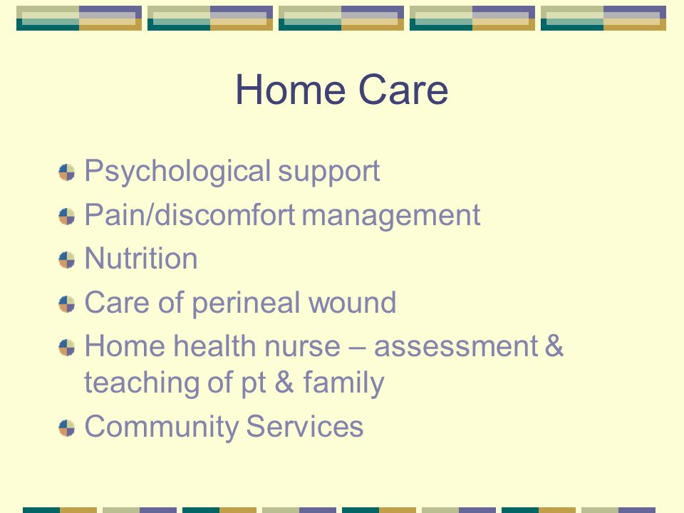 Home Care Psychological support Pain/discomfort management Nutrition