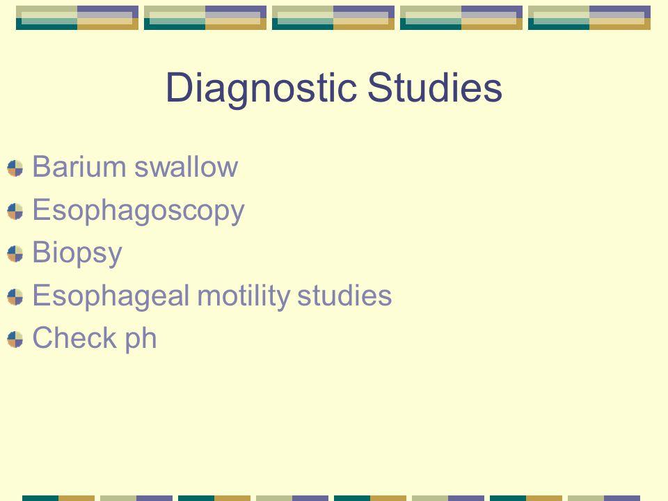Diagnostic Studies Barium swallow Esophagoscopy Biopsy