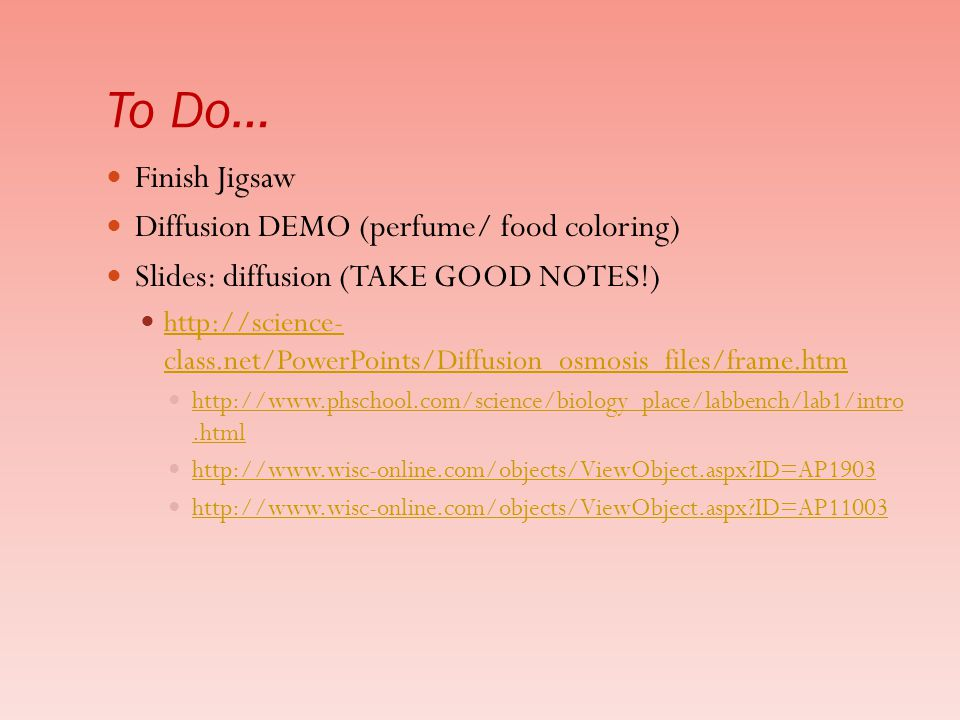 To Do… Finish Jigsaw Diffusion DEMO (perfume/ food coloring)