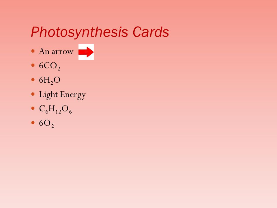 Photosynthesis Cards An arrow 6CO2 6H2O Light Energy C6H12O6 6O2