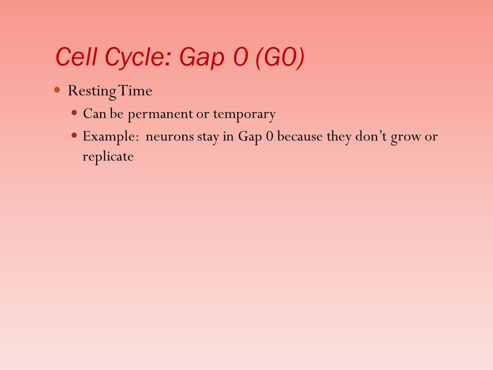 Cell Cycle: Gap 0 (G0) Resting Time Can be permanent or temporary
