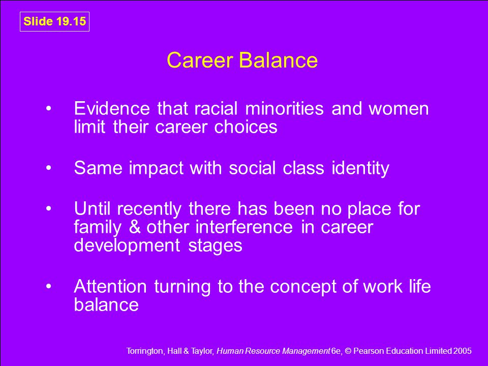 Career Balance Evidence that racial minorities and women limit their career choices. Same impact with social class identity.