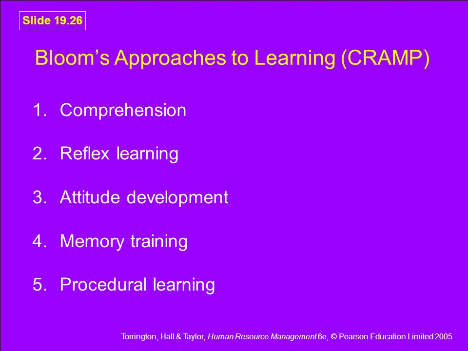 Bloom's Approaches to Learning (CRAMP)