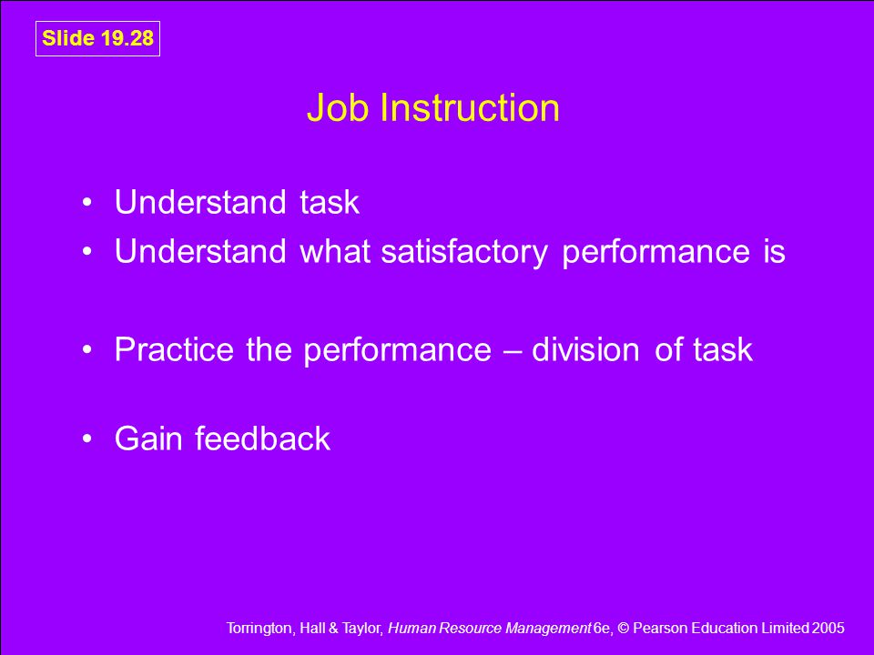 Job Instruction Understand task