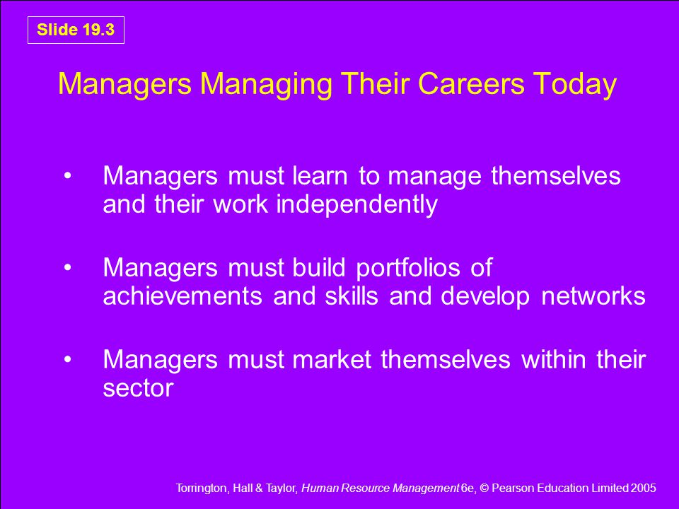 Managers Managing Their Careers Today