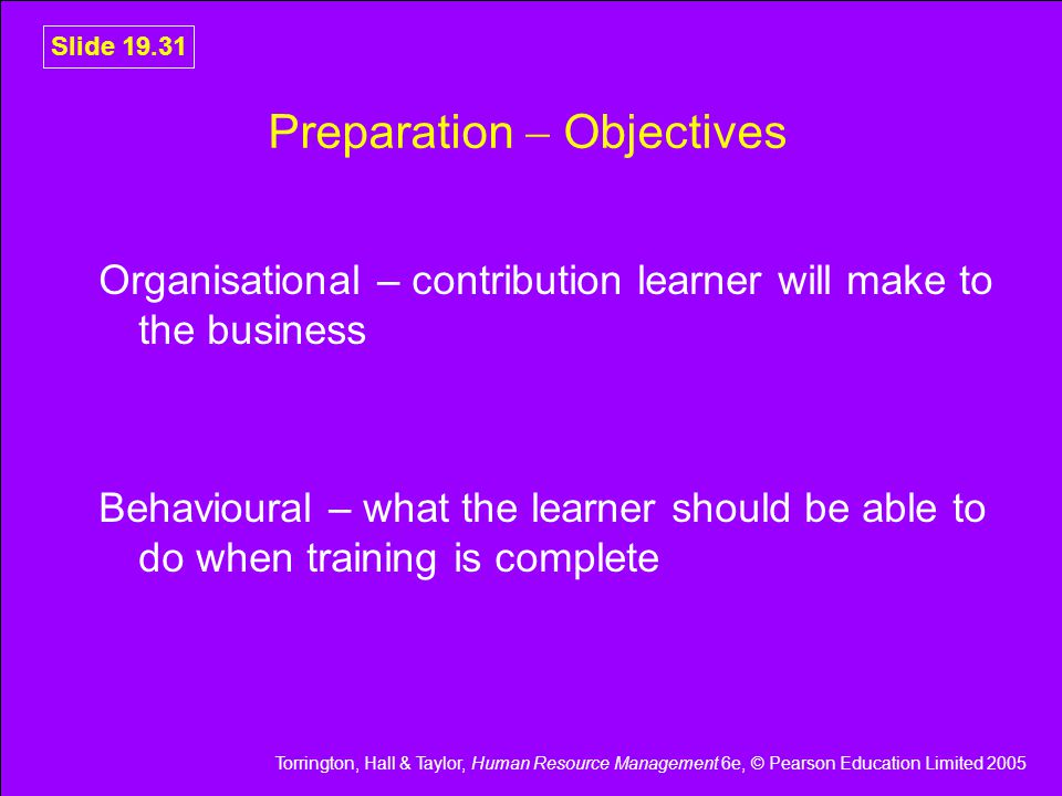 Preparation  Objectives