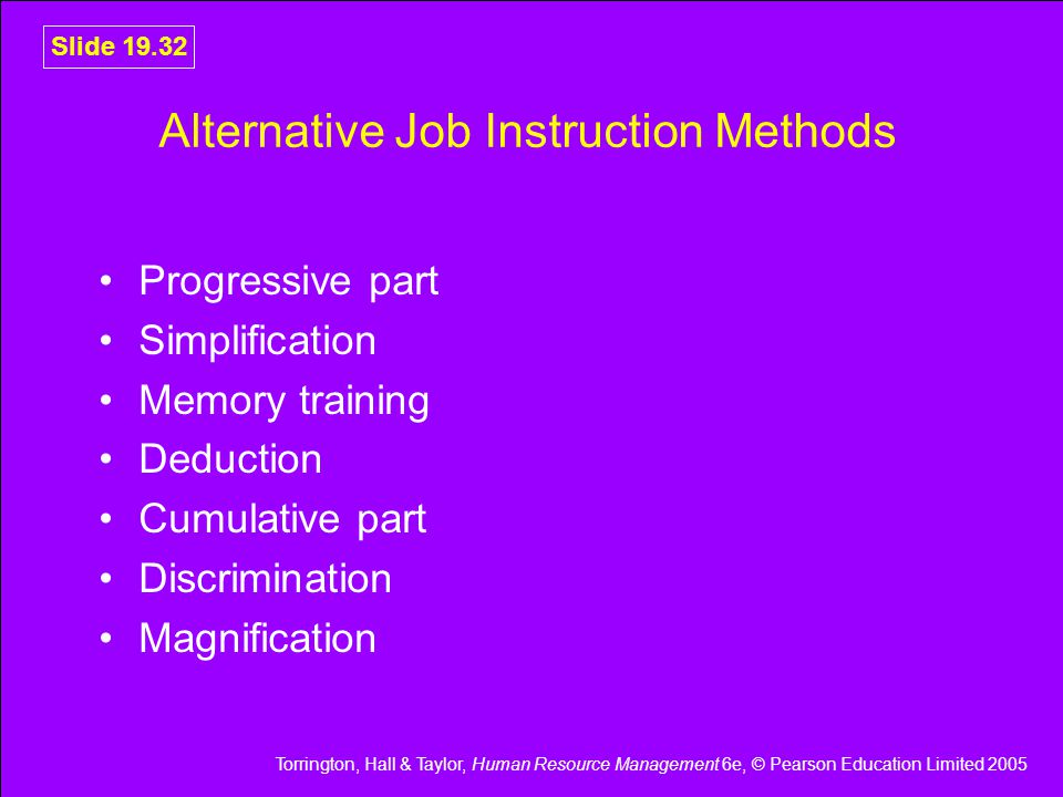 Alternative Job Instruction Methods