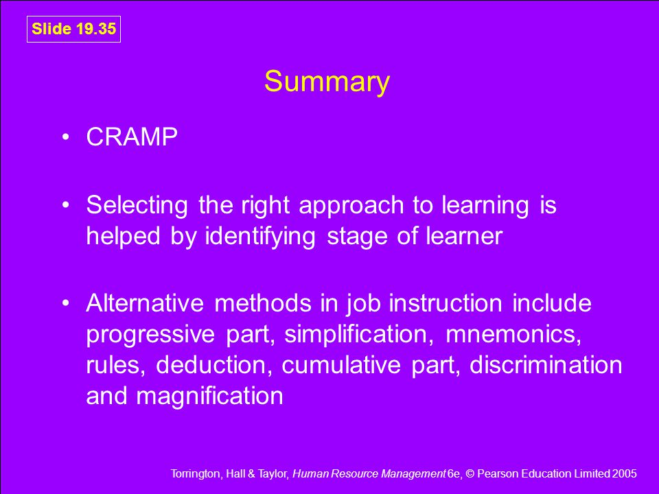 Summary CRAMP. Selecting the right approach to learning is helped by identifying stage of learner.