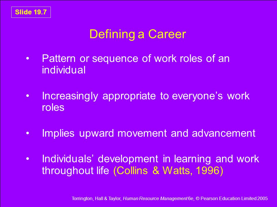 Defining a Career Pattern or sequence of work roles of an individual