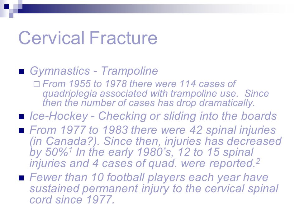 Cervical Fracture Gymnastics - Trampoline