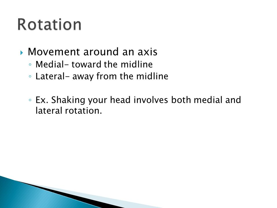 Rotation Movement around an axis Medial- toward the midline