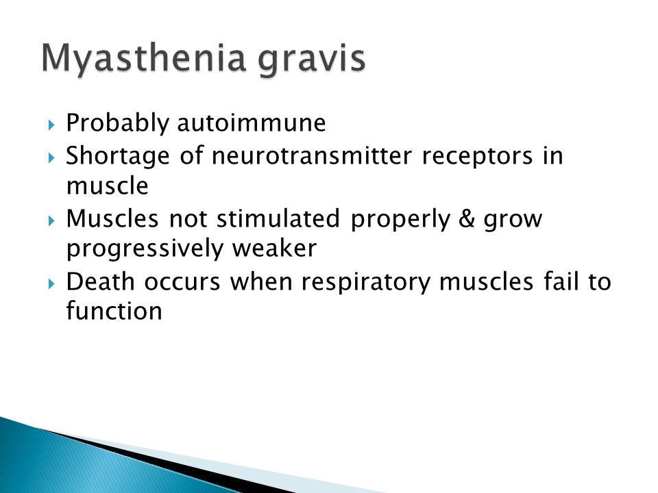 Myasthenia gravis Probably autoimmune