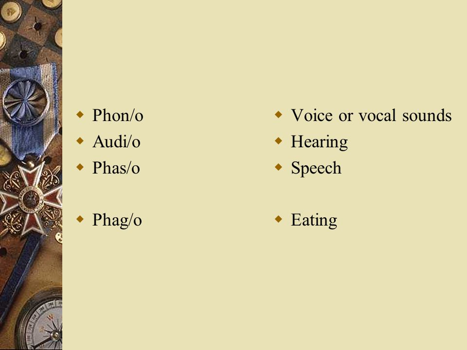 Phon/o Audi/o Phas/o Phag/o Voice or vocal sounds Hearing Speech Eating