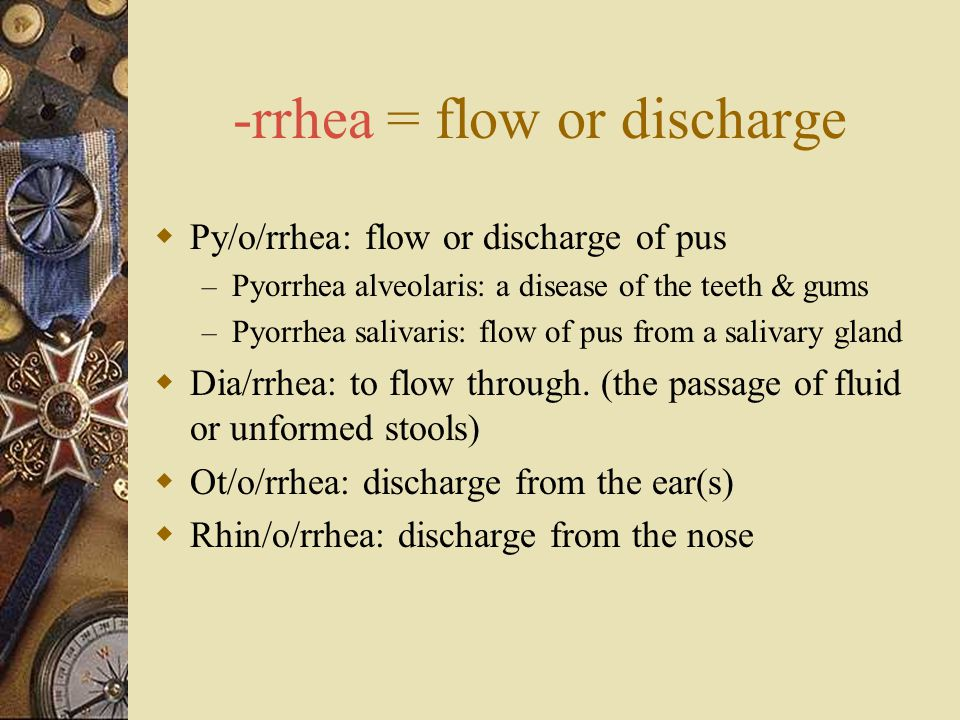-rrhea = flow or discharge