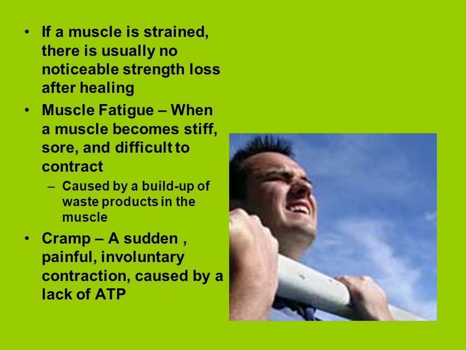 If a muscle is strained, there is usually no noticeable strength loss after healing