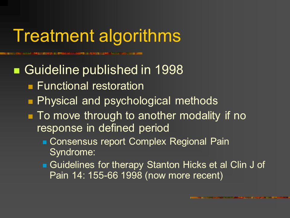 Treatment algorithms Guideline published in 1998