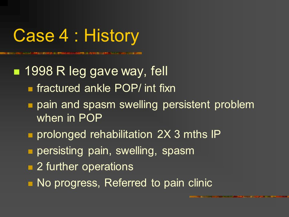 Case 4 : History 1998 R leg gave way, fell