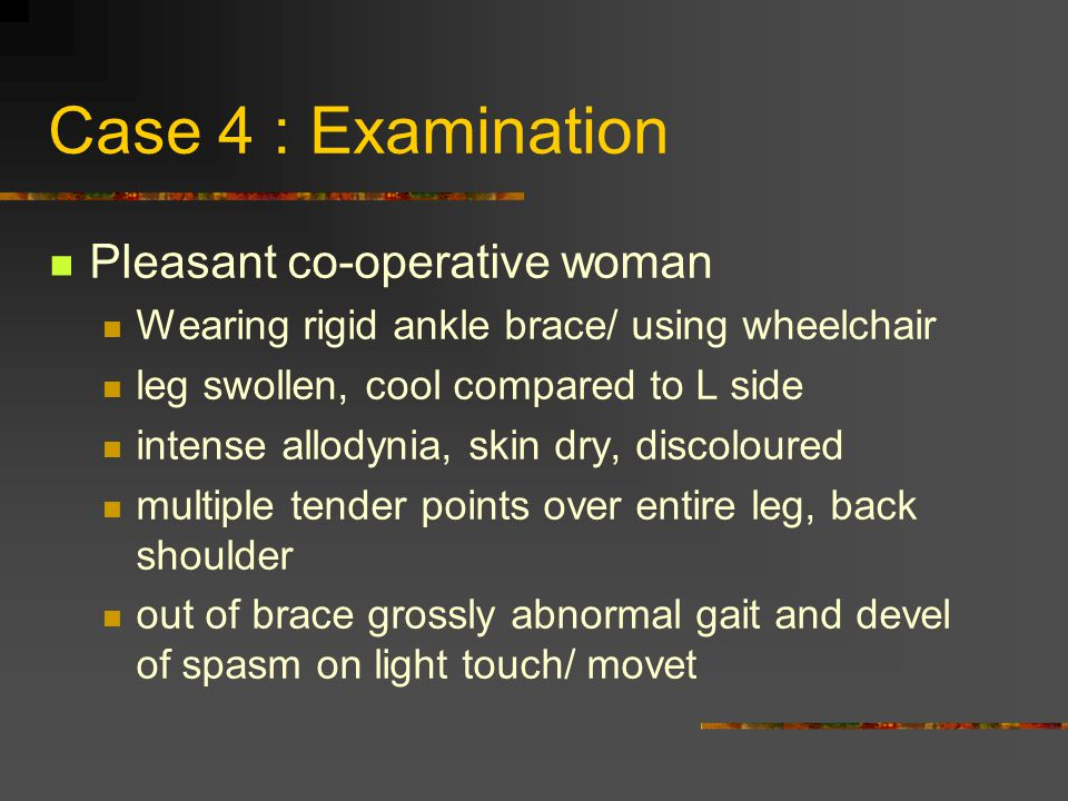 Case 4 : Examination Pleasant co-operative woman